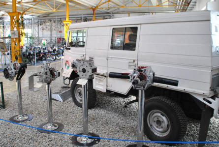 Some of the 4x4 components manufactured by Puch (Steyr-Daimler-Puch) displayed at the Johann Puch Museum in Graz.