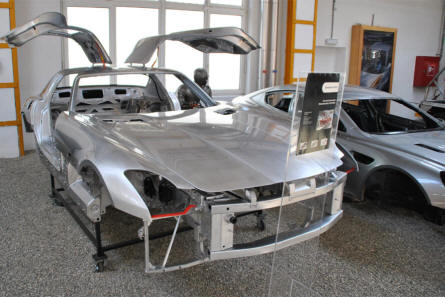Some of the aluminium car bodies manufactured by Puch (Magna Steyr)  displayed at the Johann Puch Museum in Graz.