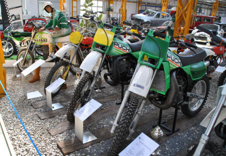 Some of the many Puch off-road motorcycles displayed at the Johann Puch Museum in Graz.