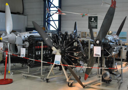 Some of the aircraft engines displayed at the Aviaticum Aviation Museum in Wiener Neustadt.