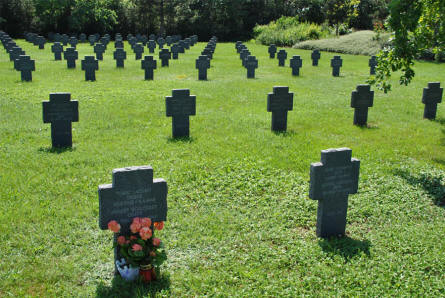 Some of the many World War II and World War I graves at the Blumau German War Cemetery.
