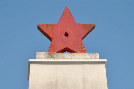 "The ""Red Star"" on top of the Russian World War II memorial at the Russian War Cemetery in Leobersdorf."