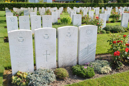 The graves of a Royal Air Force World War II crew at Klagenfurt War Cemetery. These airmen were killed on the 7th of July 1944.