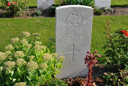 The World War II grave of Lieutenant Sergeant R. Gibb from the Royal Tank Regiment (killed on the 13th of May 1945) at Klagenfurt War Cemetery.