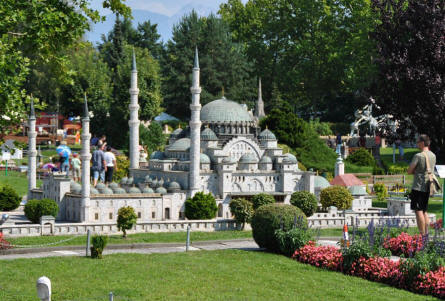 The mosque of Suleiman in Istanbul (Turkey) displayed at the Minimundus miniature park in Klagenfurt.