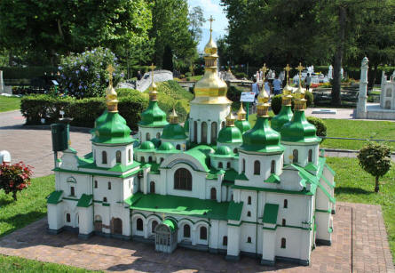 The Sophien Cathedral from Kiev displayed at the Minimundus miniature park in Klagenfurt.