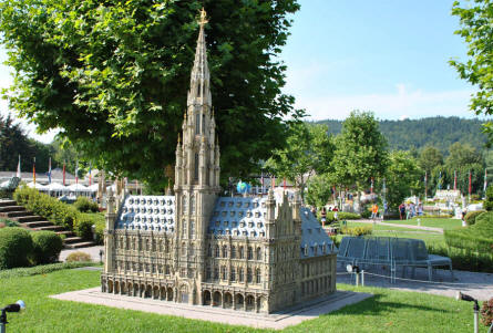 The Town hall of Brussels (Belgium) displayed at the Minimundus miniature park in Klagenfurt.