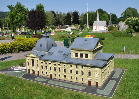 Some of the many buildings and towers displayed at the Minimundus miniature park in Klagenfurt.