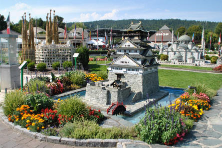 Some of the many buildings displayed at the Minimundus miniature park in Klagenfurt. In front the Osaka Fortress (Japan).
