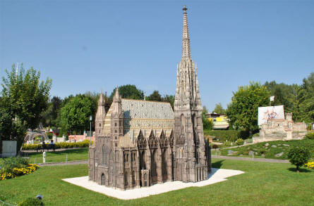 The St. Stephen's Cathedral in Vienna (Austria) displayed at the Minimundus miniature park in Klagenfurt.