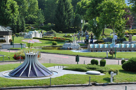 Some of the many different buildings displayed at the Minimundus miniature park in Klagenfurt.