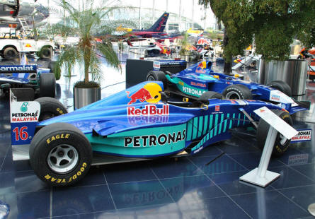 One of the many Red Bull Formula 1 cars displayed at Hangar-7 - Salzburg Airport - as a part of the Red Bull Museum. This is a Sauber-Petronas C16 from 1997.