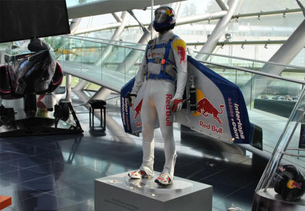 Felix Baumgartner crossed the Channel without any form of external drive wearing a carbon fibre wing on July31, 2003. Now it is displayed at Hangar-7 - Salzburg Airport - as a part of the Red Bull Museum