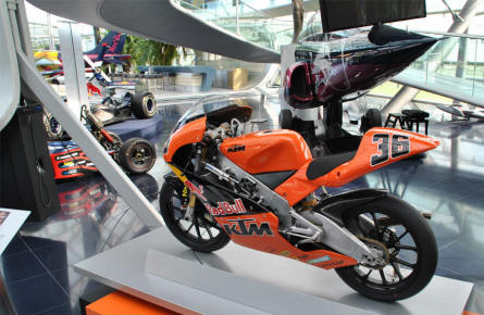 One of the Red Bull KTM motorcycles displayed at Hangar-7 - Salzburg Airport - as a part of the Red Bull Museum.