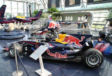 One of the many Red Bull Formula 1 cars displayed at Hangar-7 - Salzburg Airport - as a part of the Red Bull Museum. This is a Red Bull Racing RB 4 from 2008.