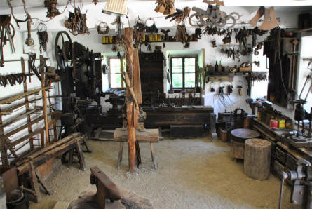 Inside the blacksmith's workshop at the Salzburg Open-Air Museum.
