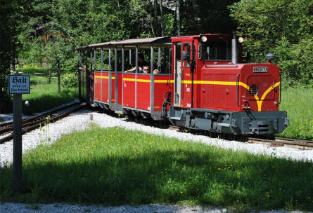 One of the narrow-gauge trains displayed at the Salzburg Open-Air Museum.