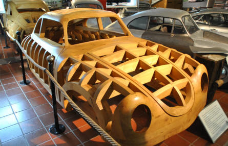 A wooden frame used for the production of some of the early Porsche sports car displayed at Helmut Pfeifhofer Porsche museum in Gmünd.
