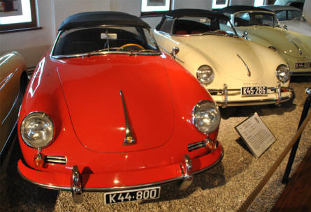 Some of the many classic Porsche sports cars displayed at Helmut Pfeifhofer Porsche museum in Gmünd.