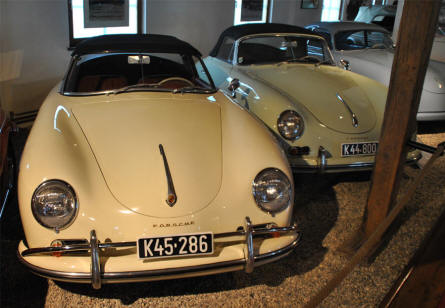 A 1959 Porsche 356A Convertible D sports car displayed at Helmut Pfeifhofer Porsche museum in Gmünd.