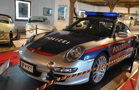 A 2006 Porsche 997 Carrera police car displayed at Helmut Pfeifhofer Porsche museum in Gmünd. This car was tested by the austraian police, but no further cars were purchased.