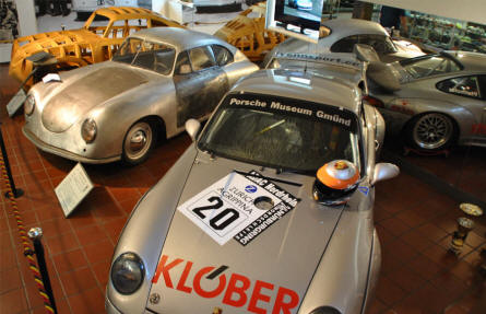 Some of the many Porsche cars displayed at Helmut Pfeifhofer Porsche museum in Gmünd.