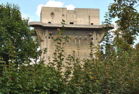 A square flak (anti-aircraft) tower in the Augarten Park in Vienna. This type of towers were called L-towers.