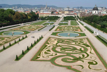 The Baroque park seen from the Upper Belvedere Castle in Vienna. In the background the Lower Belvedere.