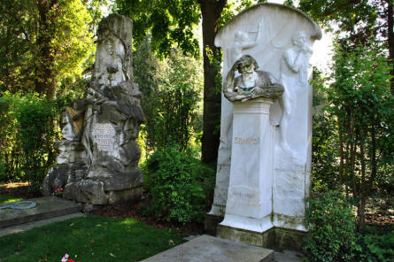 The grave of the famous composers Brahms and Strauss at the Vienna Central Cemetery (Wien Zentralfriedhof).
