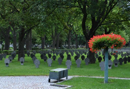 Some of the many German World War II graves at the Vienna German War Cemetery.