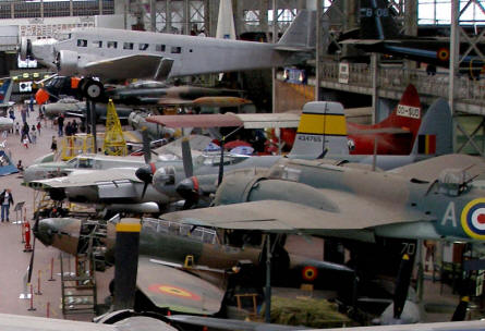 Some of the historic aircrafts at the Royal Armed Forces Museum in Brussels.