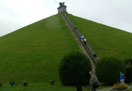 The famous Lion's Mound hill at Waterloo. Build in 1820. 43 meter high and 226 steps from the bottom to the top.