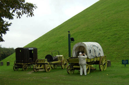 "Some ""Napoleon War"" horse wagons displayed at the foothill of  the famous Lion's Mound hill at Waterloo."