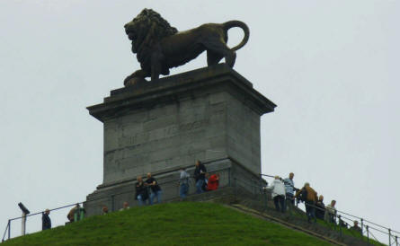 The lion statue at the top of the famous Lion's Mound hill at Waterloo.