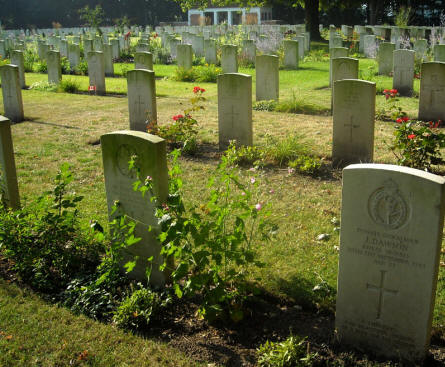 Some of the many war graves at the Adegem Canadian War Cemetery.