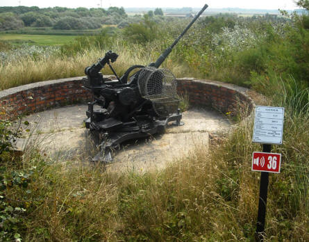 A German World War II 2 cm FLAK 38 anti-aircraft guns at the Raversijde Domain (Atlantic Wall museum) at Oostende.