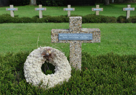 The World War II grave of a German soldier - killed in 1942 - at the Lommel German War Cemetery.