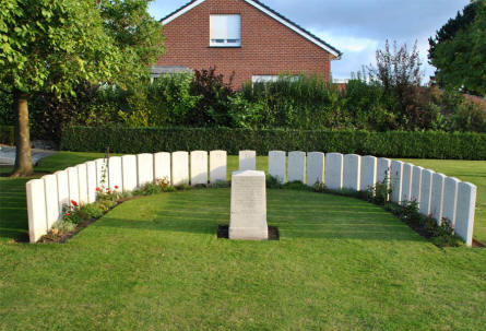 Some of the graves that have been moved from another cemetery to the Duhallow ADS (Advanced Dressing Station) Cemetery in Ypres. The original cemetery (Fusilier Wood Cemetery) was destroyed during at later World War I battles.