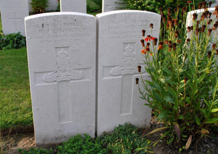 Two graves related to the Royal Garrison Artillery at the Duhallow ADS (Advanced Dressing Station) Cemetery in Ypres.