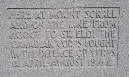 One of the inscriptions on the memorial stone at the Canadian Hill 62 (Sanctuary Wood) Memorial.