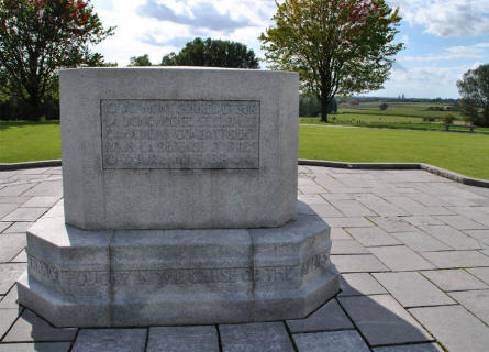 The memorial stone at the Canadian Hill 62 (Sanctuary Wood) Memorial.