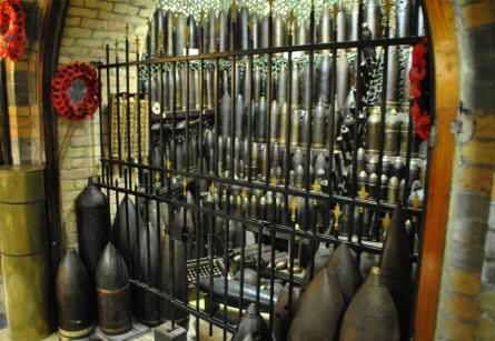 A huge collection of all types and sizes of World War I grenades displayed at the Hooge Crater Museum 1914-18 in Ypres.
