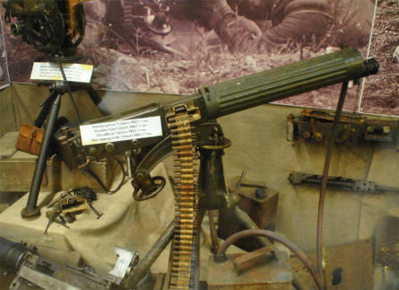 British World War I weapons displayed at the Hooge Crater Museum 1914-18 in Ypres.