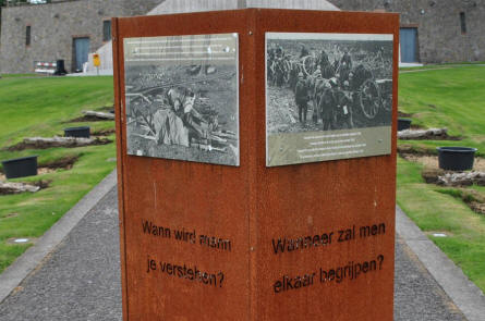 Some of the World War I pictures displayed outside the IJzertoren Memorial & Museum in Diksmuide.