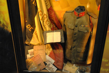 Belgian World War I uniform displayed at the In Flanders Fields Museum in Ypres.