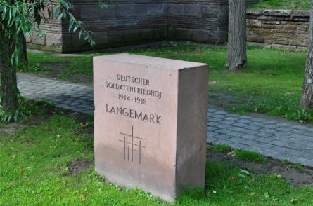 A stone outside the Langemark German War Cemetery.
