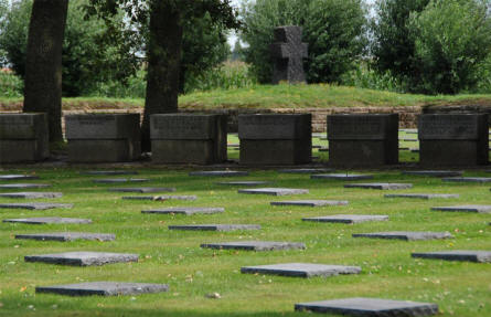 A small section of the Langemark German War Cemetery.