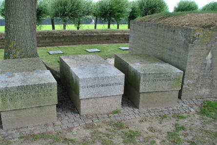 Some of the memorial stones that can be found at the Langemark German War Cemetery.