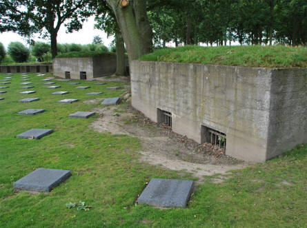 Some of the old pillboxes that can be found at the Langemark German War Cemetery.