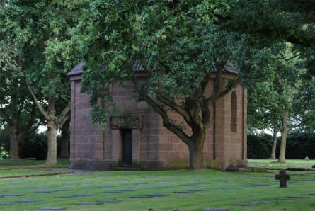 The memorial house at the centre of the Menen German War Cemetery.